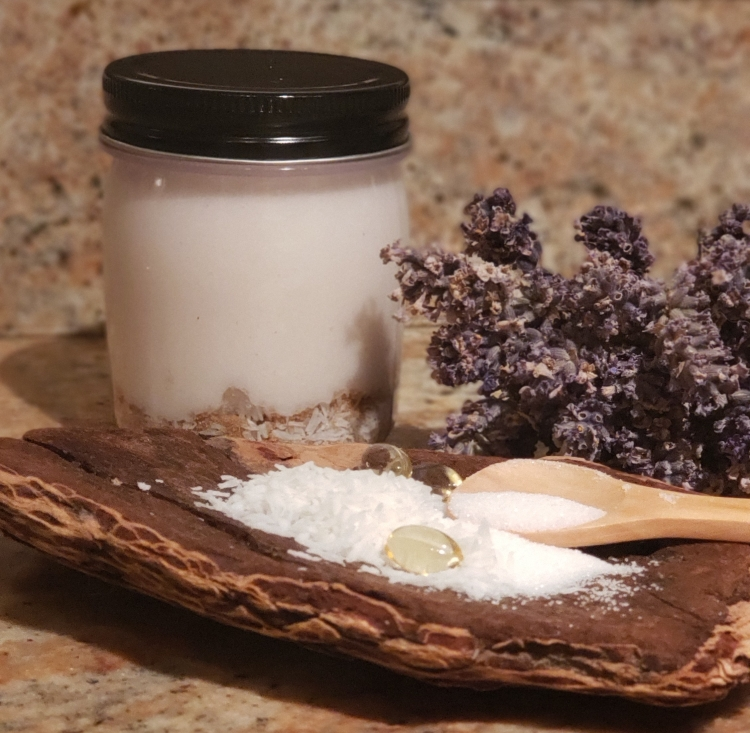 Guide for Making Homemade Sugar and Coconut Body Scrub Homemade Coconut and Sugar Body Scrub with Natural and Raw Ingredients shown like Vitamin E, Coconut Oil, Sugar and Coconut
